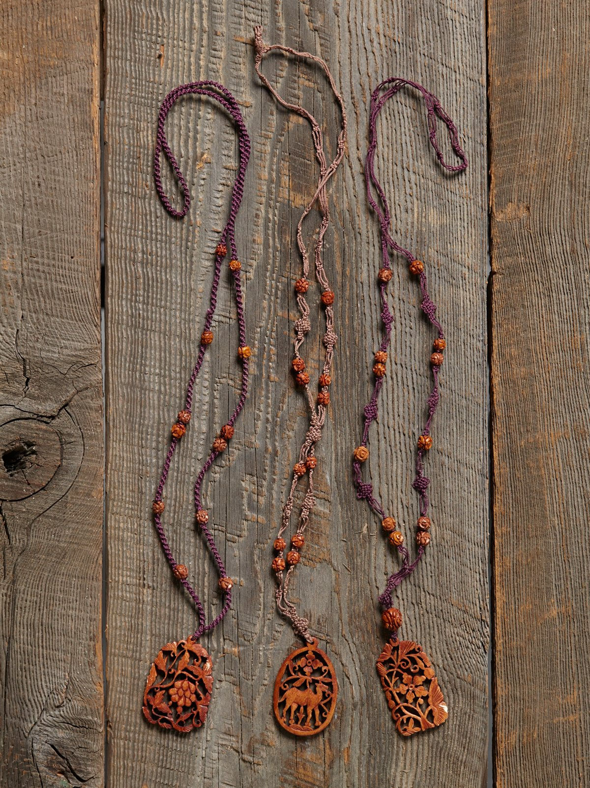 Vintage Carved Wood Necklace