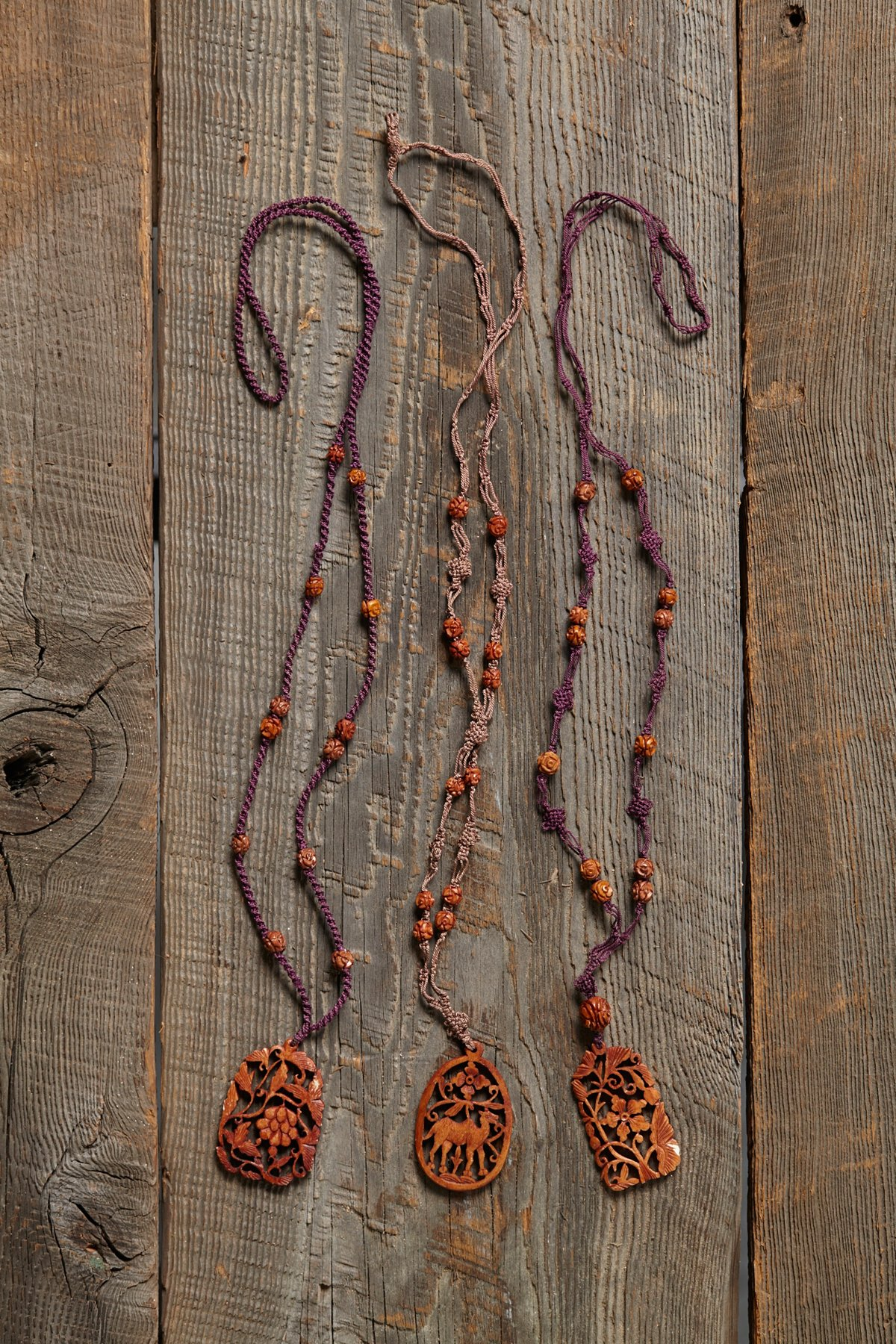 Vintage Carved Wood Necklace