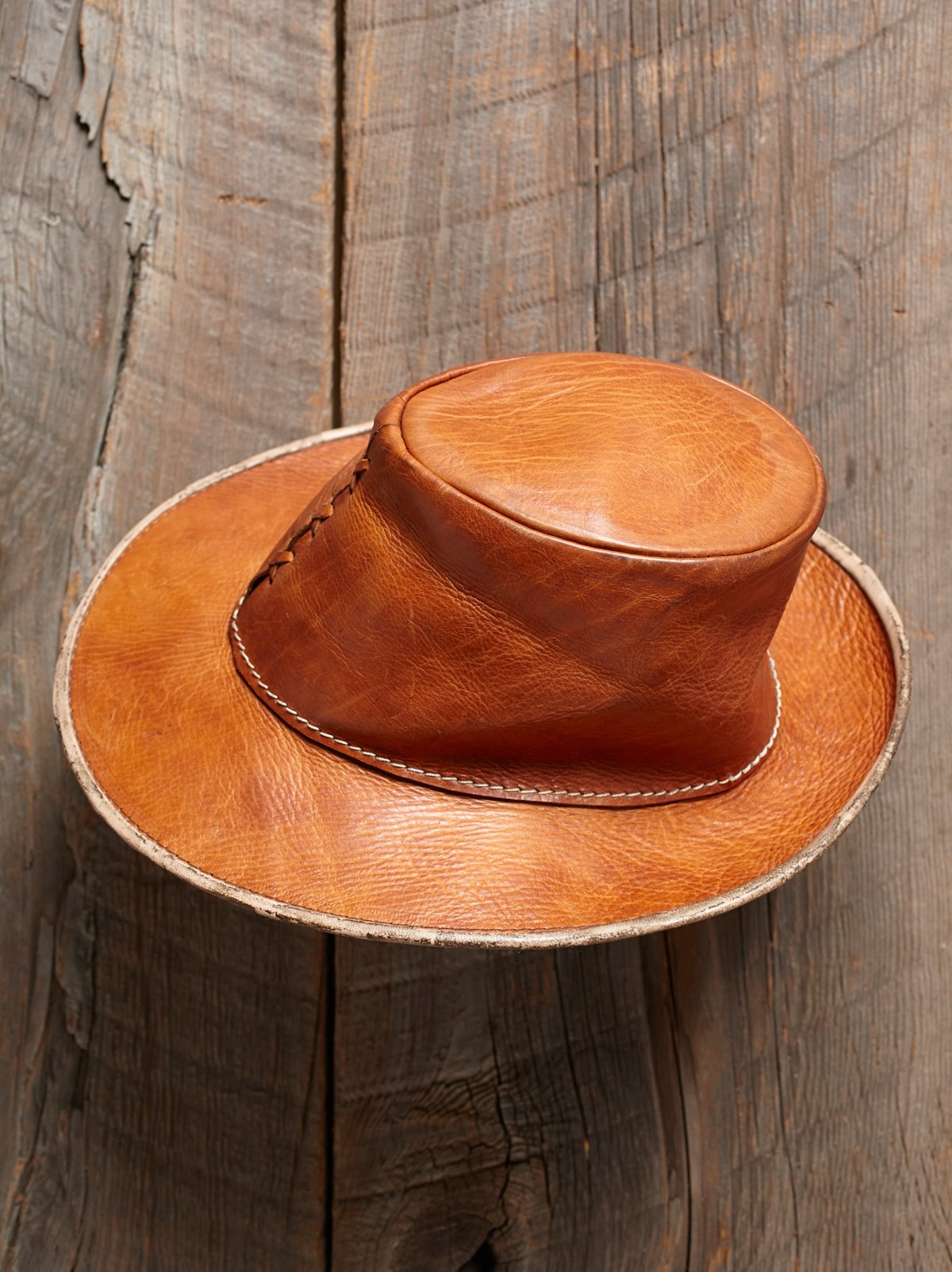 Vintage Brown Leather Fedora