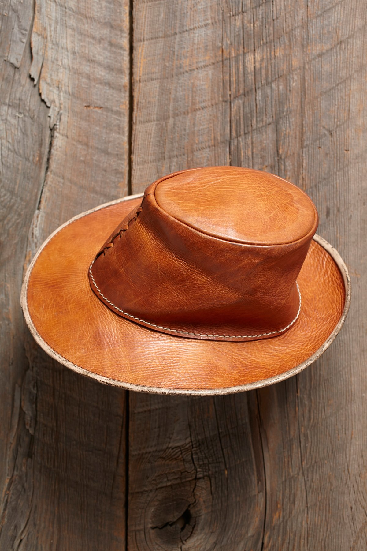Vintage Brown Leather Fedora