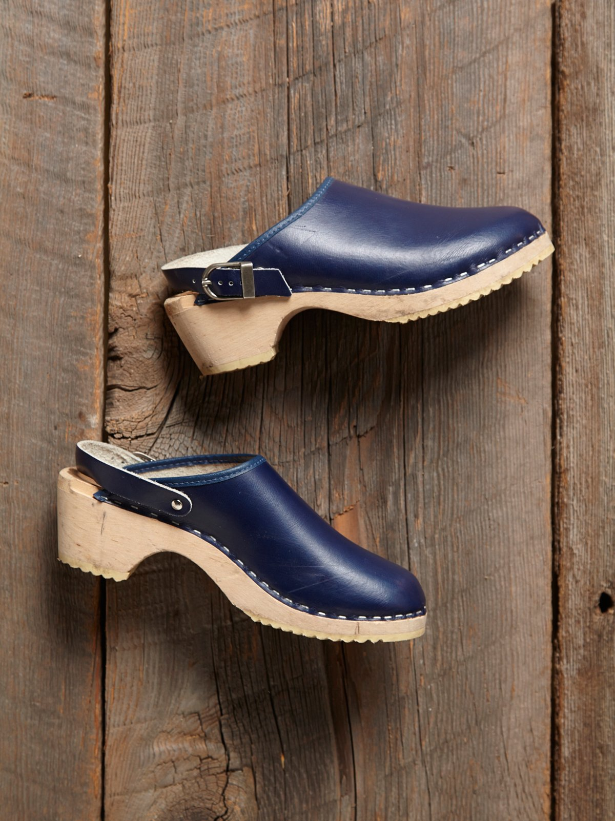 Vintage Blue Wooden Clogs