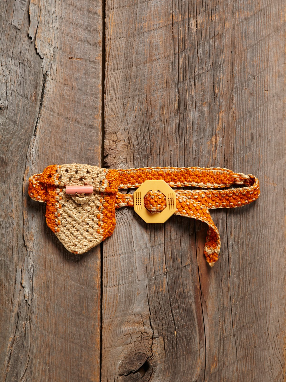 Vintage Woven Belt With Pouch