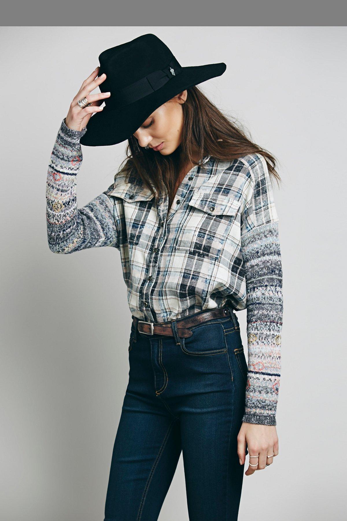 Plaid Sweater Sleeve Tunic