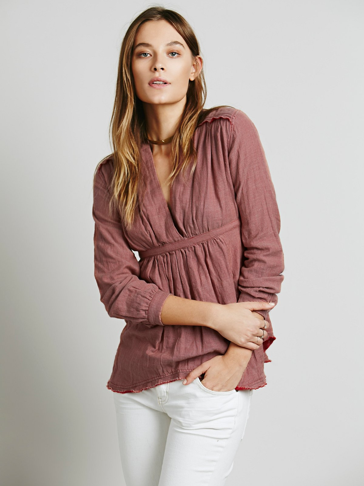 All Who Wander Stripe Double Cloth Top