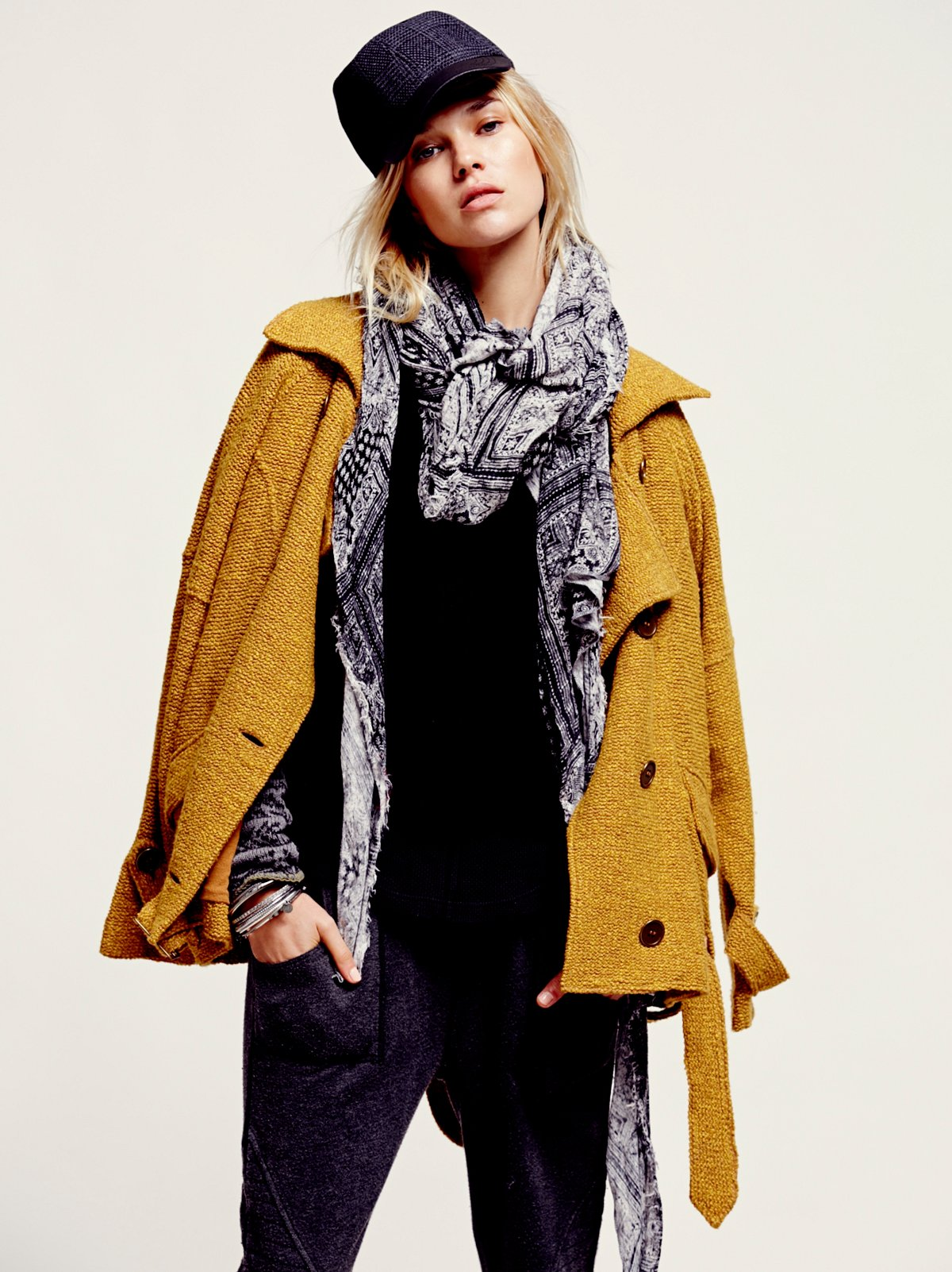 Slouchy Textured Wool Coat