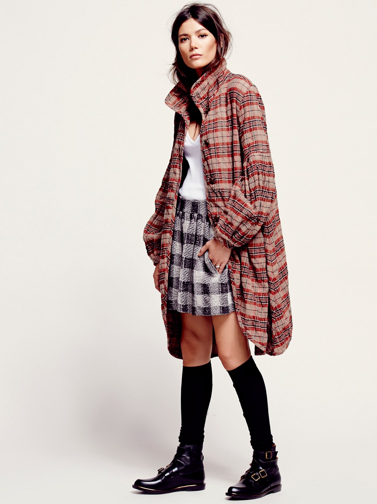 Plaid Bell Sleeve Jacket