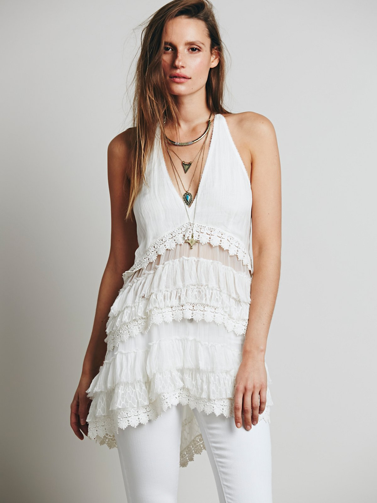 Strappy Tattered Ruffle Tunic