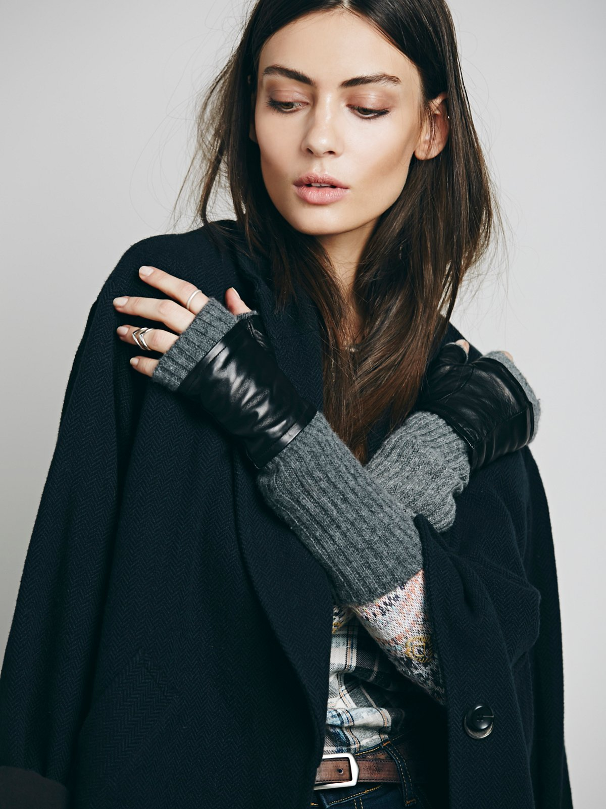 Vesey Cashmere and Leather Fingerless Glove