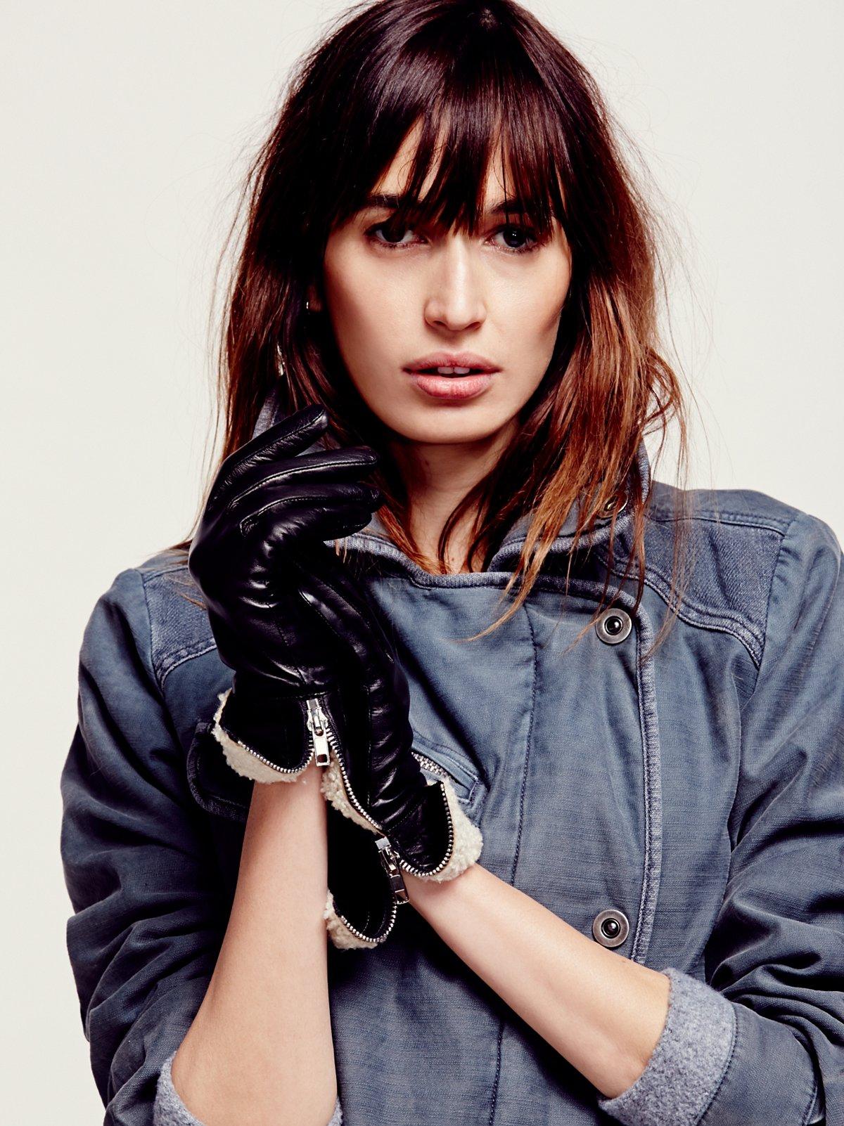 Shearling Cuff Leather Glove