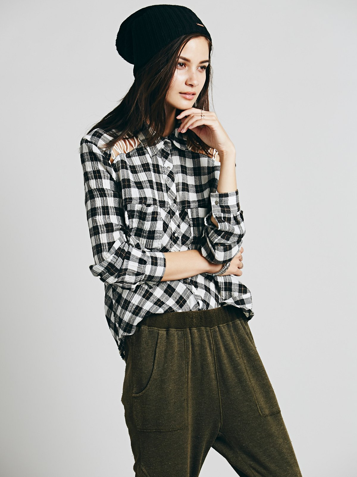 Plaid Lace Up Buttondown