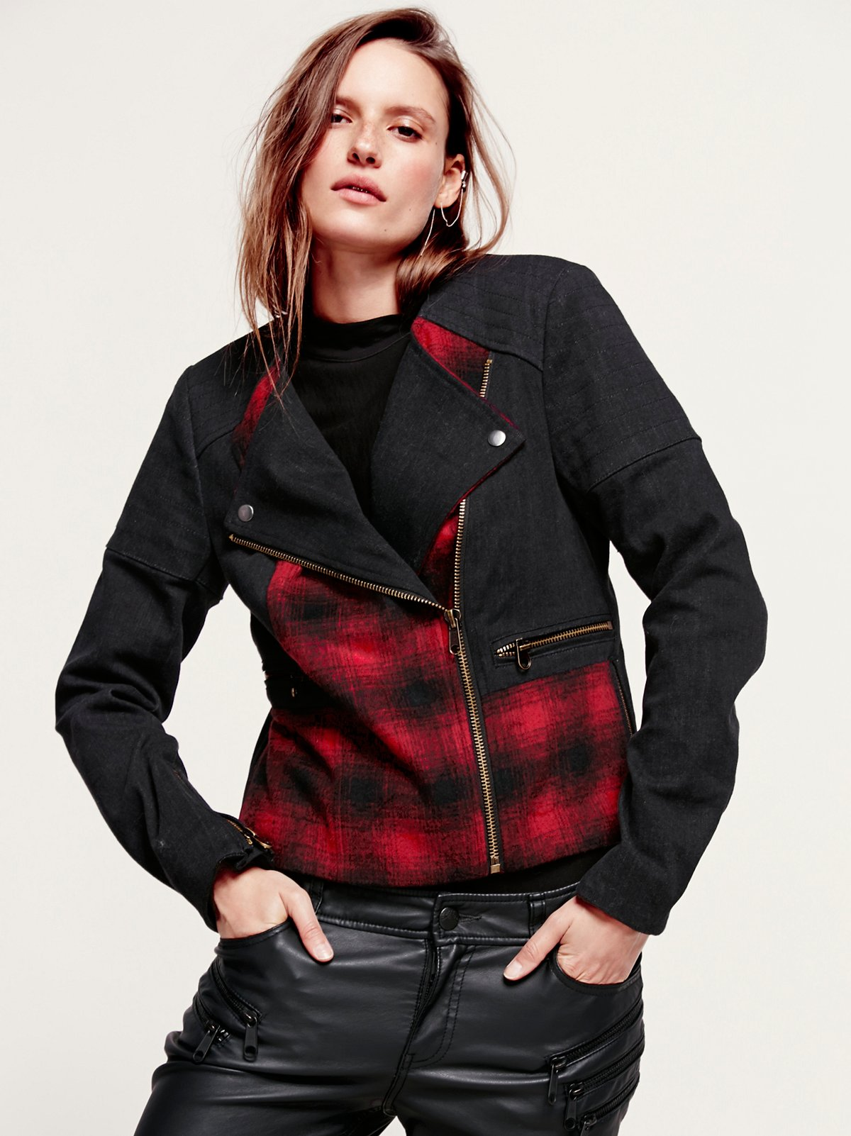 Plaid Pieced Moto Jacket