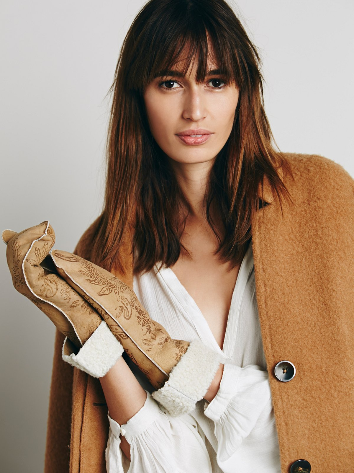 Painted Suede & Shearling Mittens