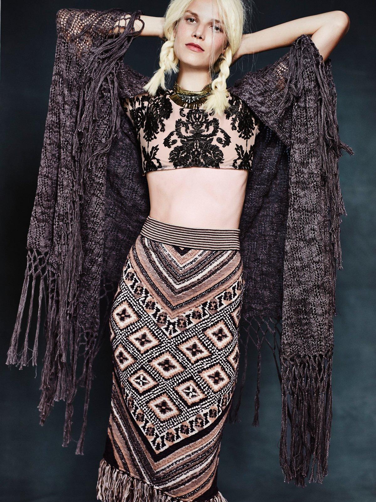 Jasmine Fringe Crochet Kimono