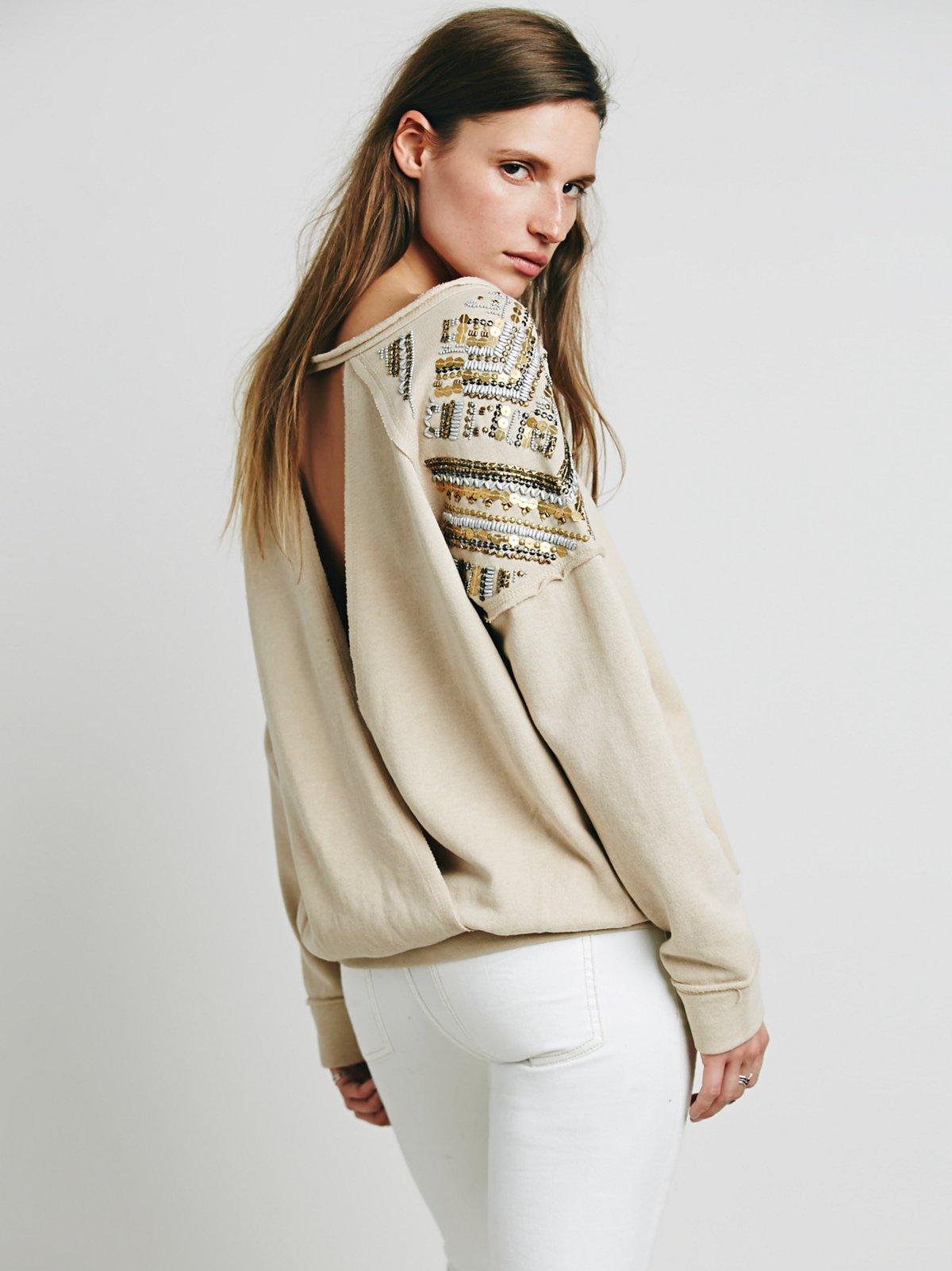 Embellished Twist Back Pullover