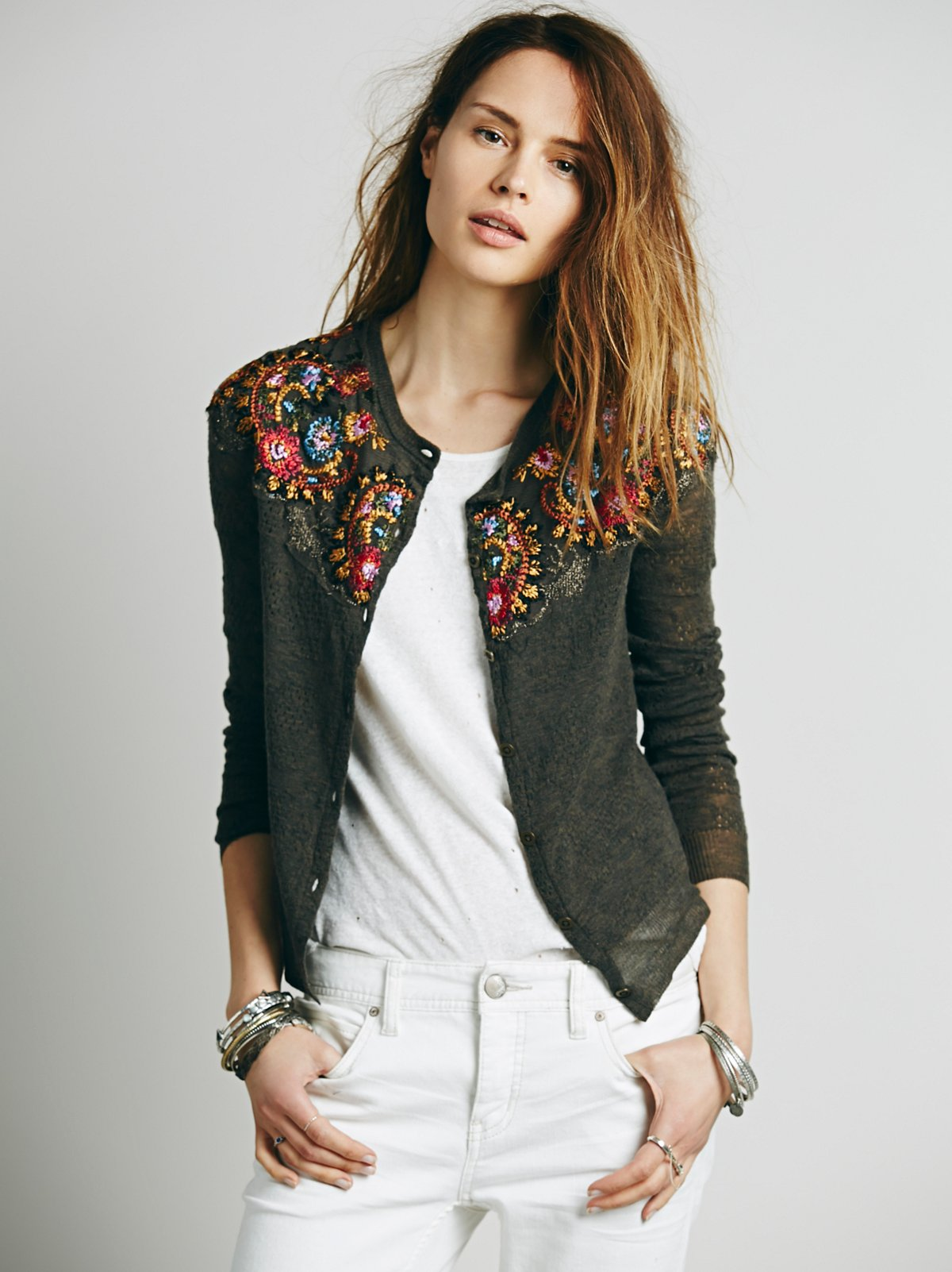 Embroidered Shrunken Cardi