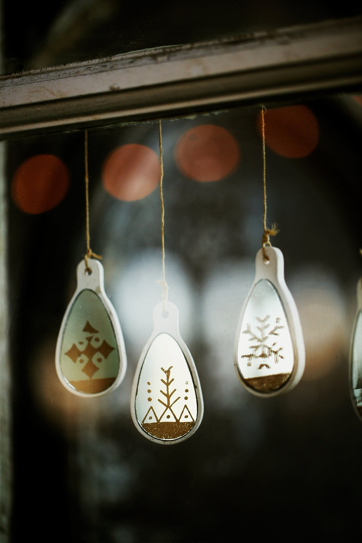 Painted Mirror Ornament Set