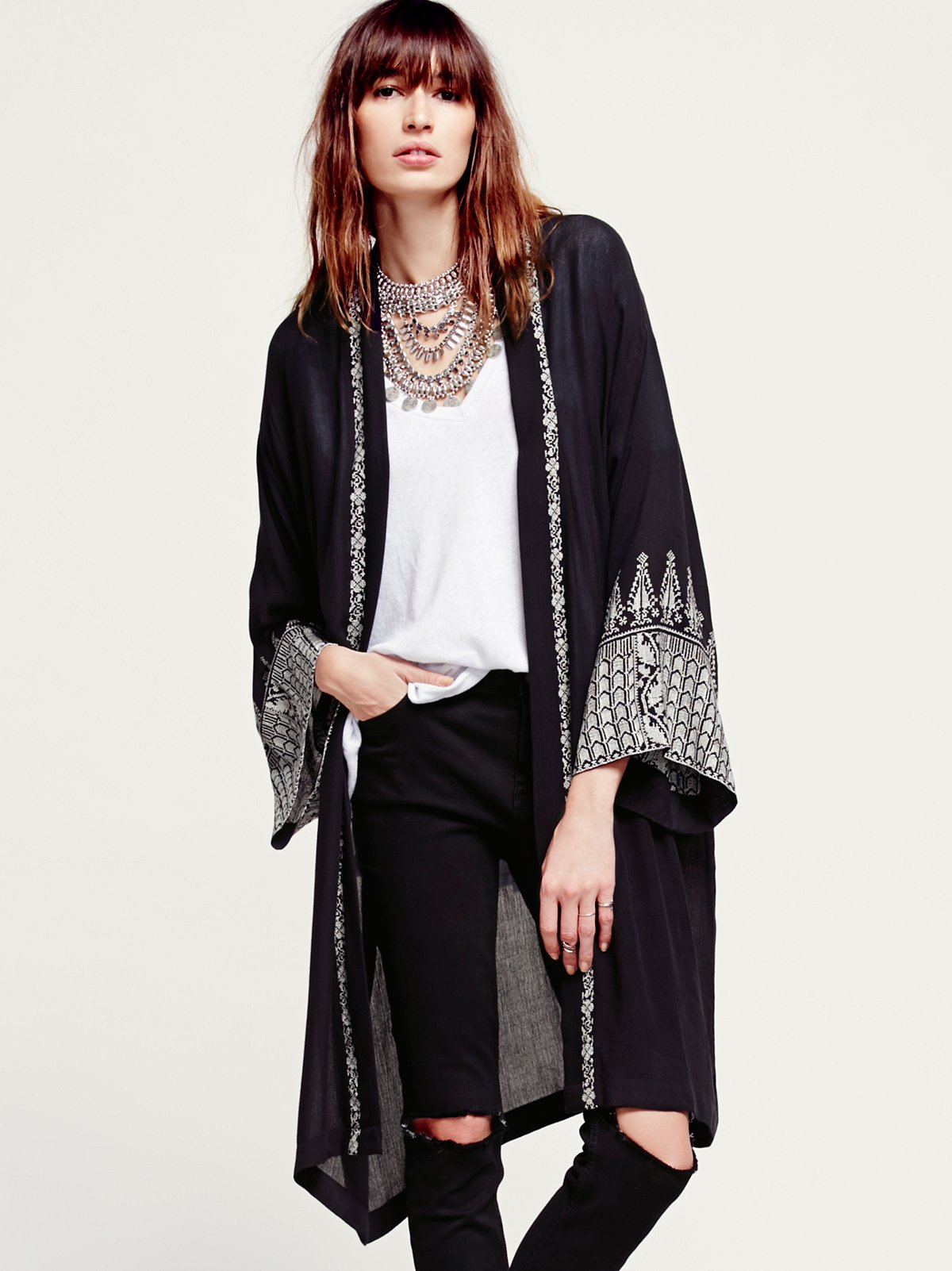 FP ONE Embroidered Long Sleeve Kimono