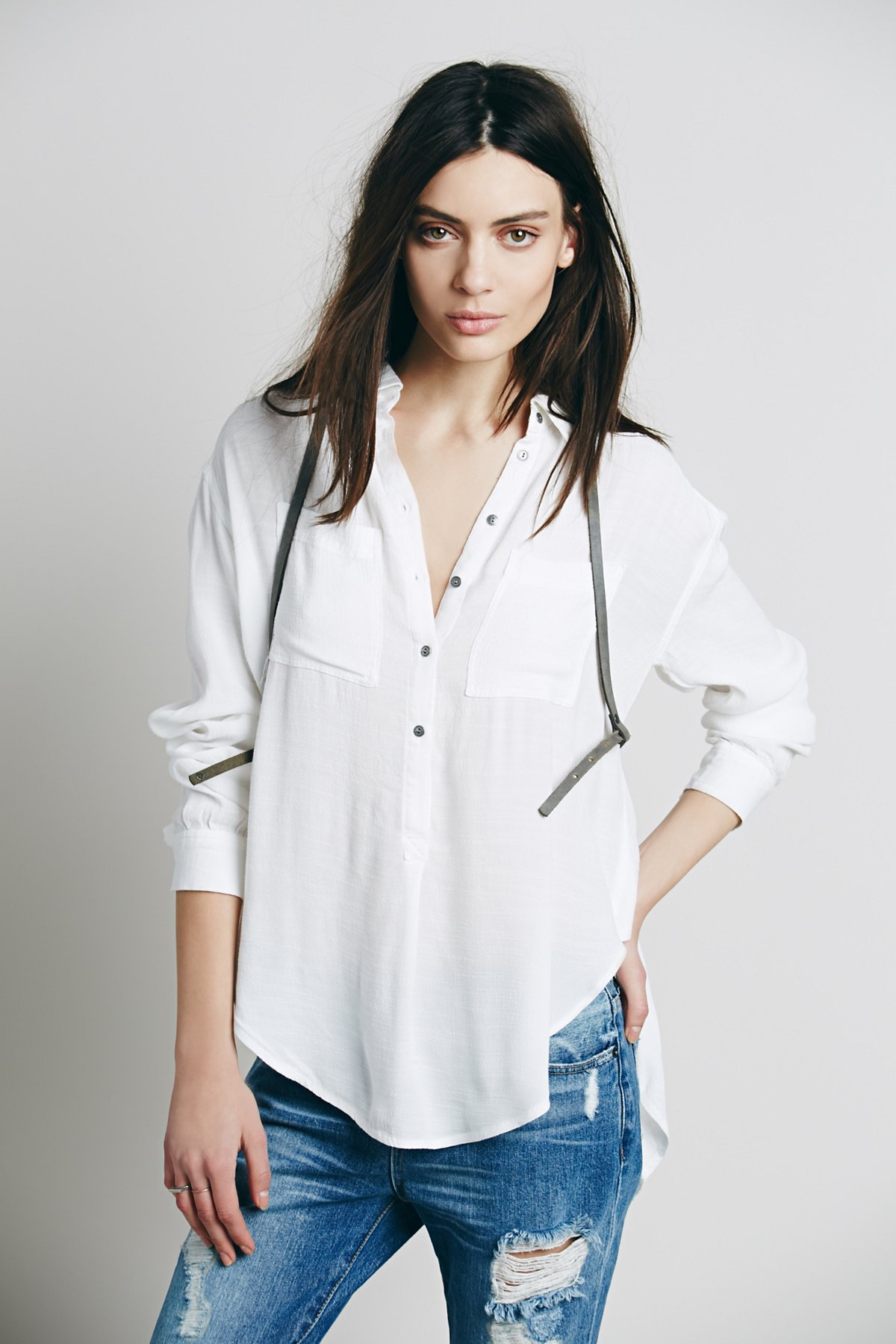 Drapey Solid Henley