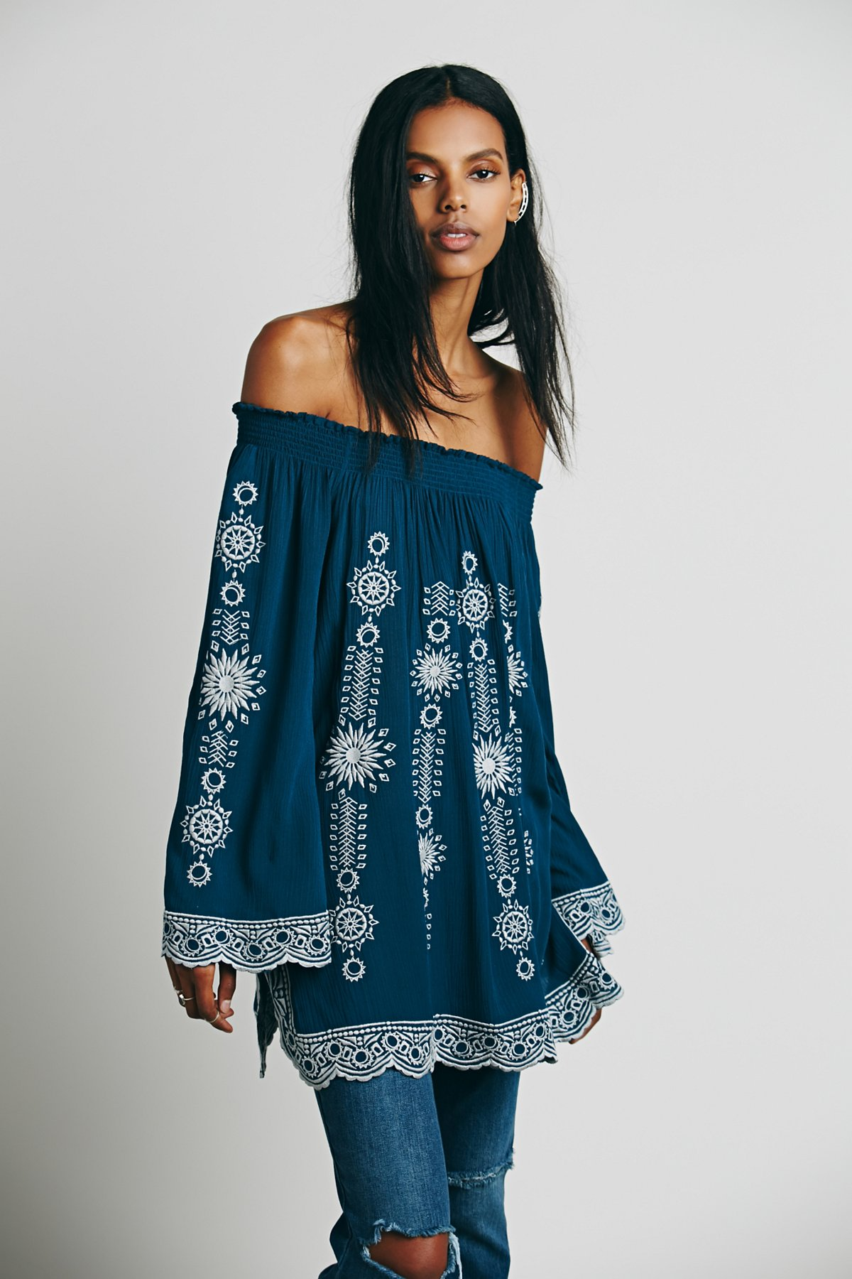 Geo Embroidered Off the Shoulder Tunic