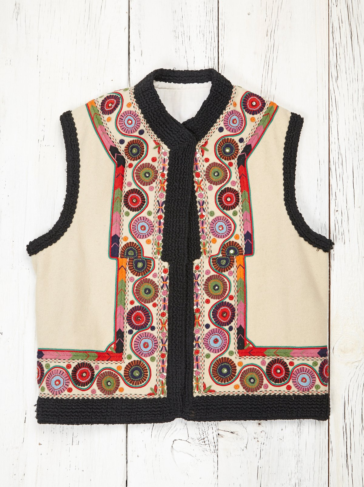 Vintage Embroidered Wool Vest