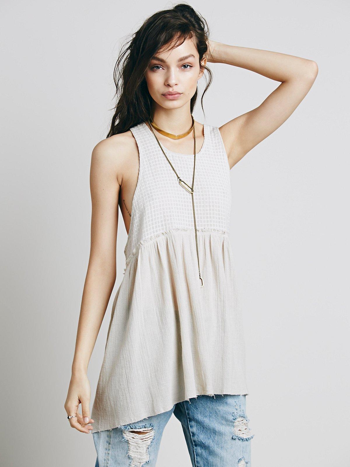 无袖混合面料裙衫