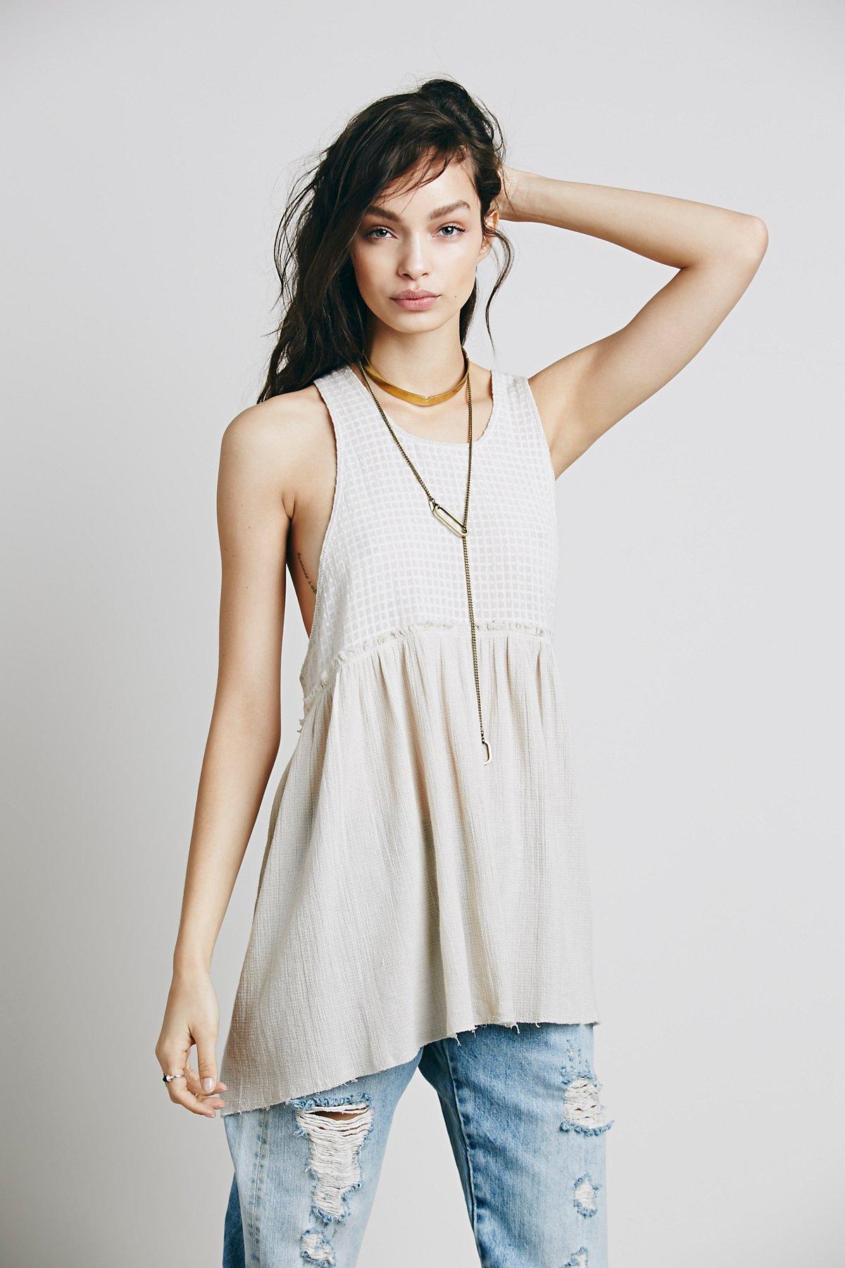 Sleevless Mix Fabric Tunic