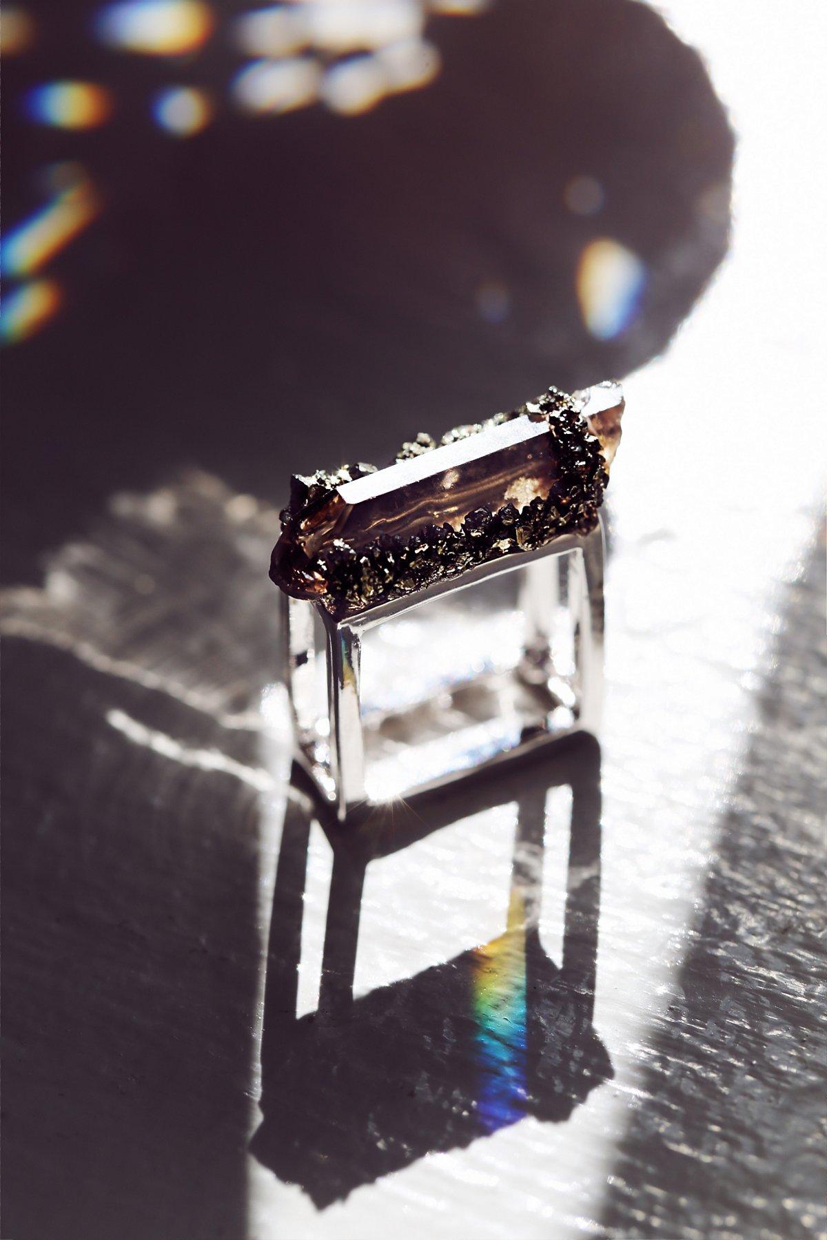 石英方形戒指