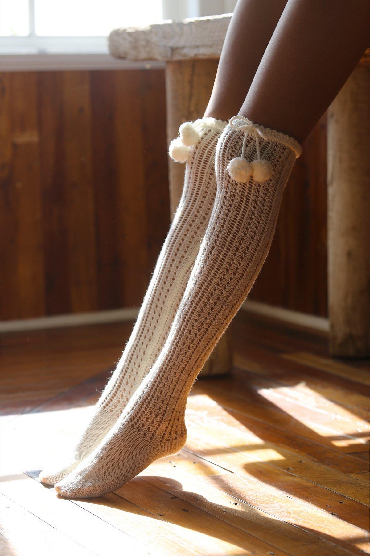 Dotted Trek Over the Knee Sock