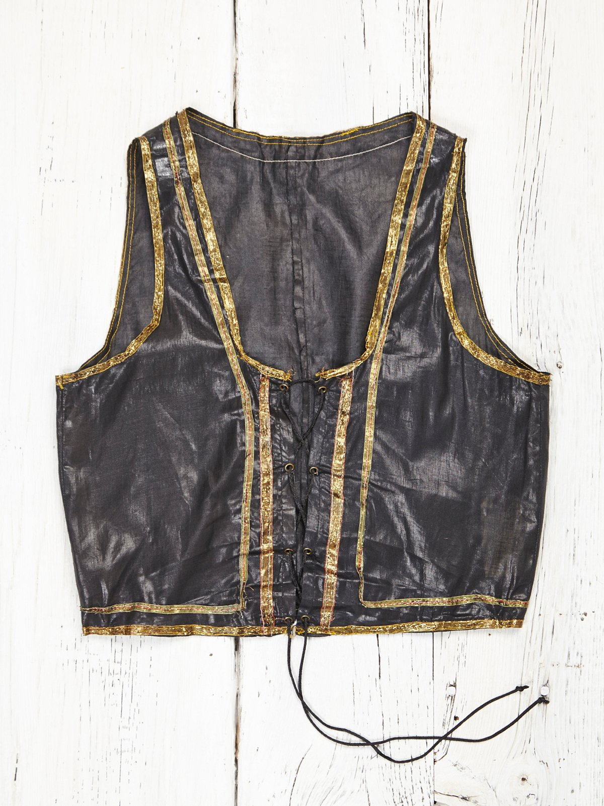 Vintage Waxed Lace Up Vest