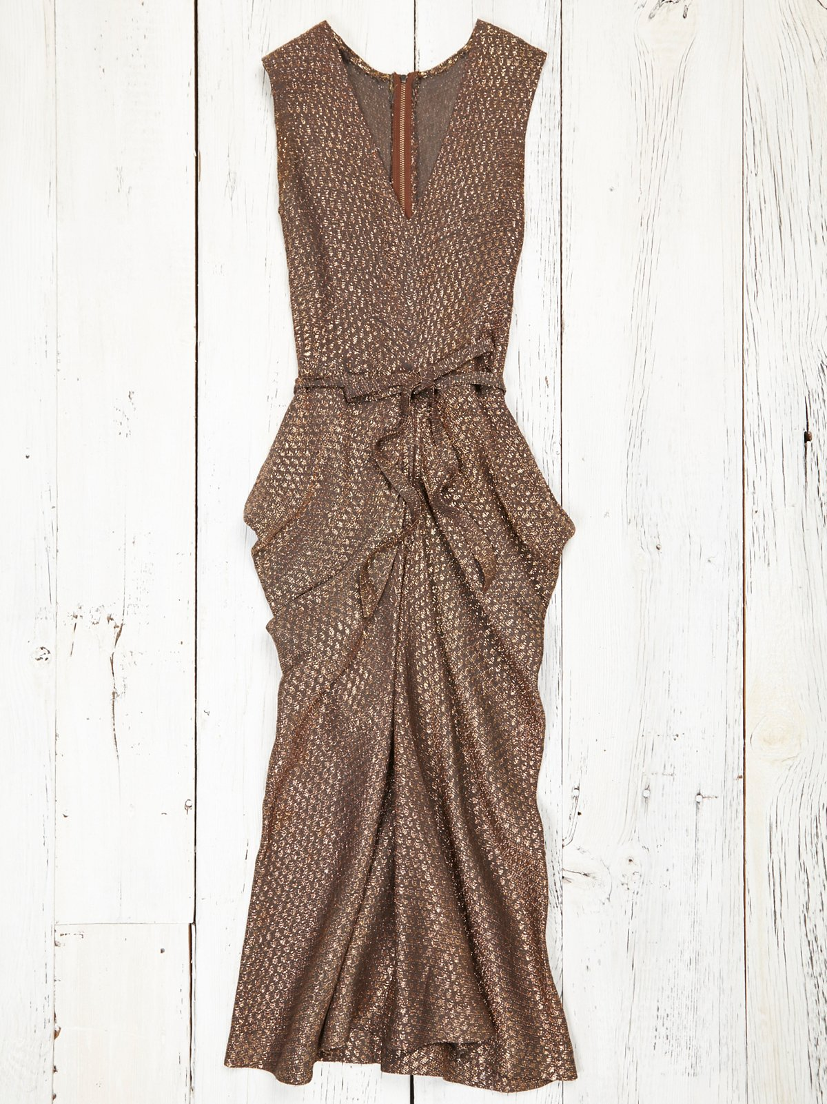 Vintage 1970s Gold Wrap Dress