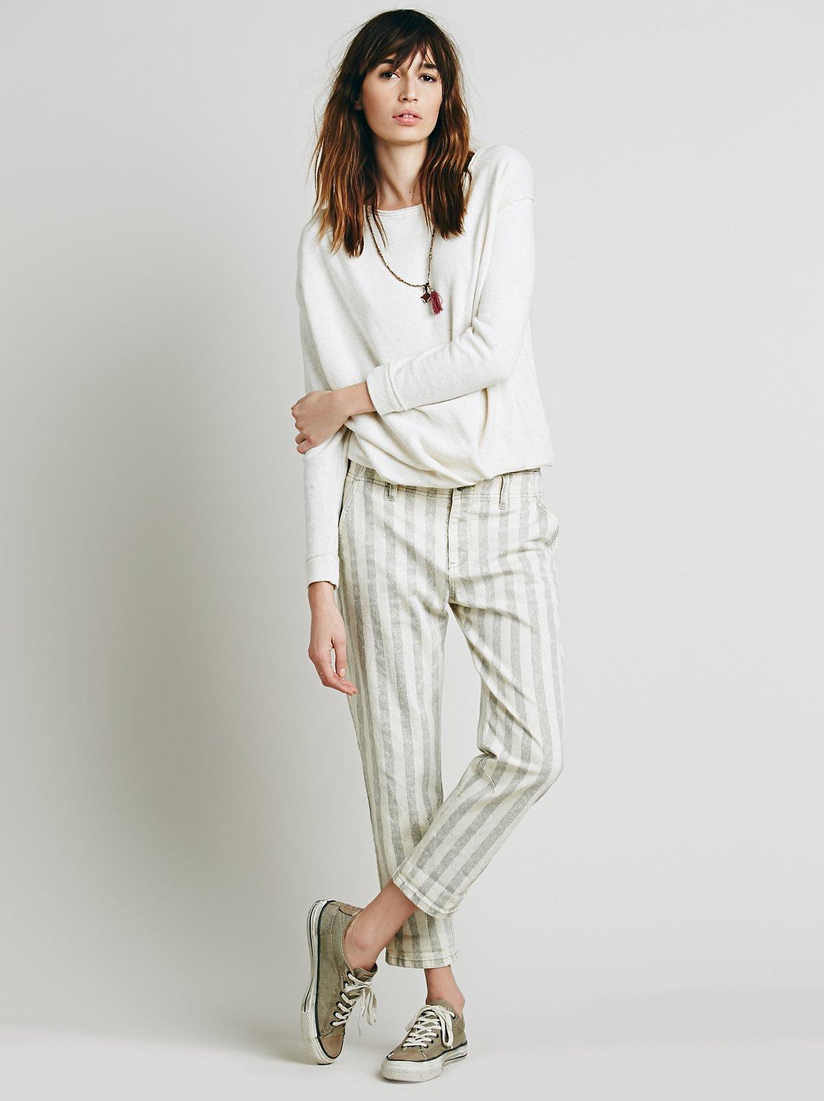 Wide Stripe Relaxed Jean