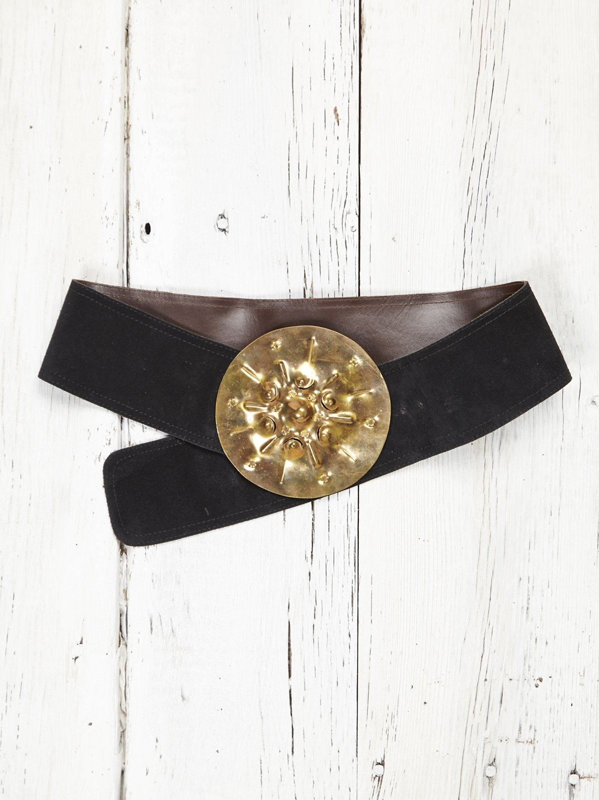 Vintage Black Suede Belt