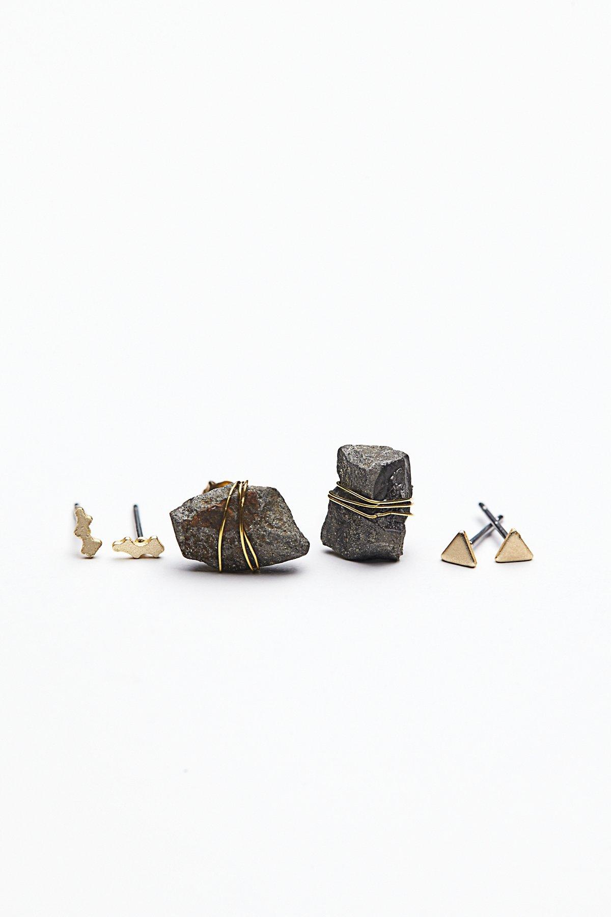 天然宝石耳钉套装