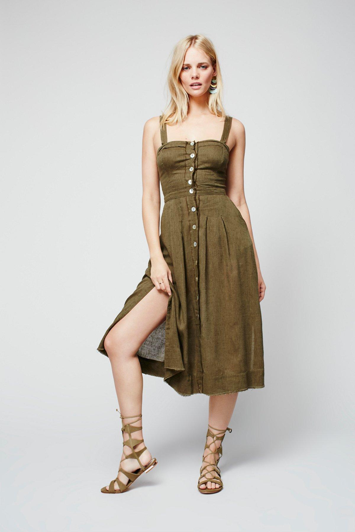 女友风格布料连衣裙
