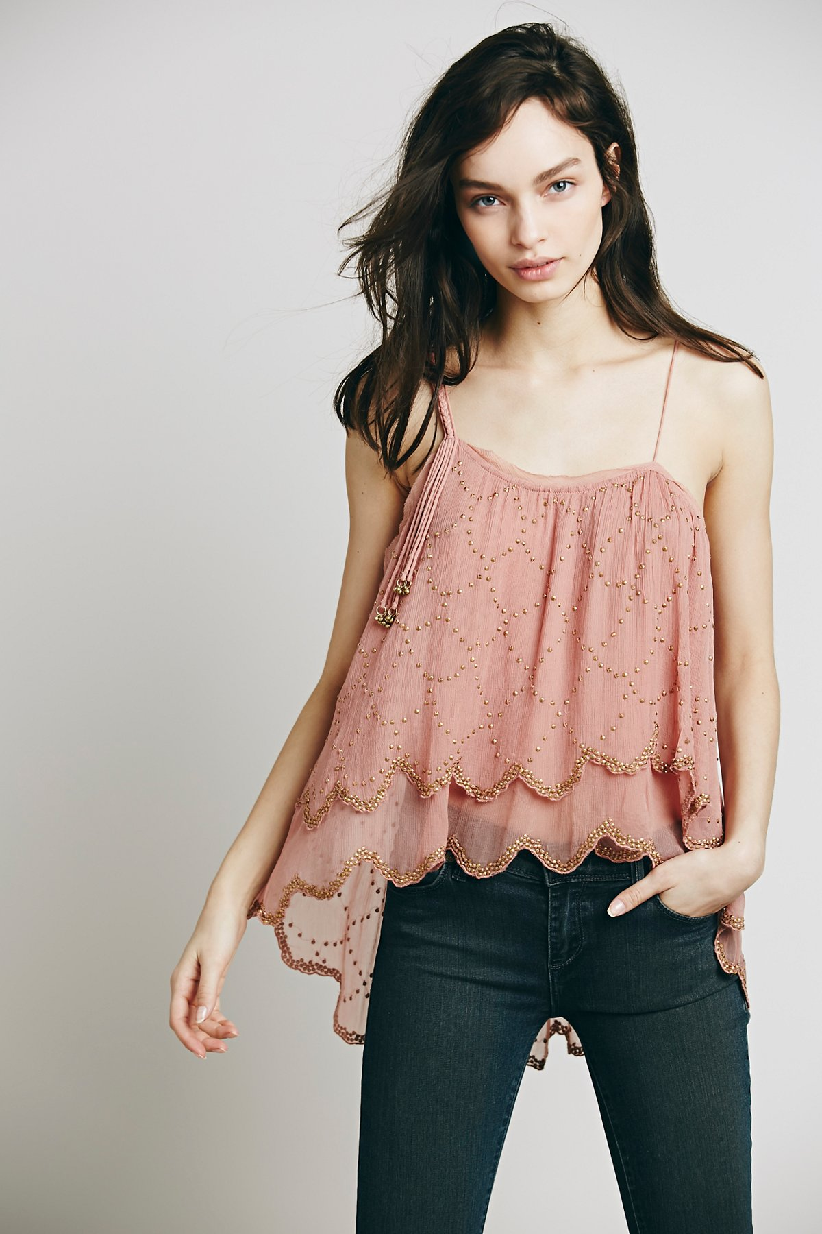 Embellished One Shoulder Top