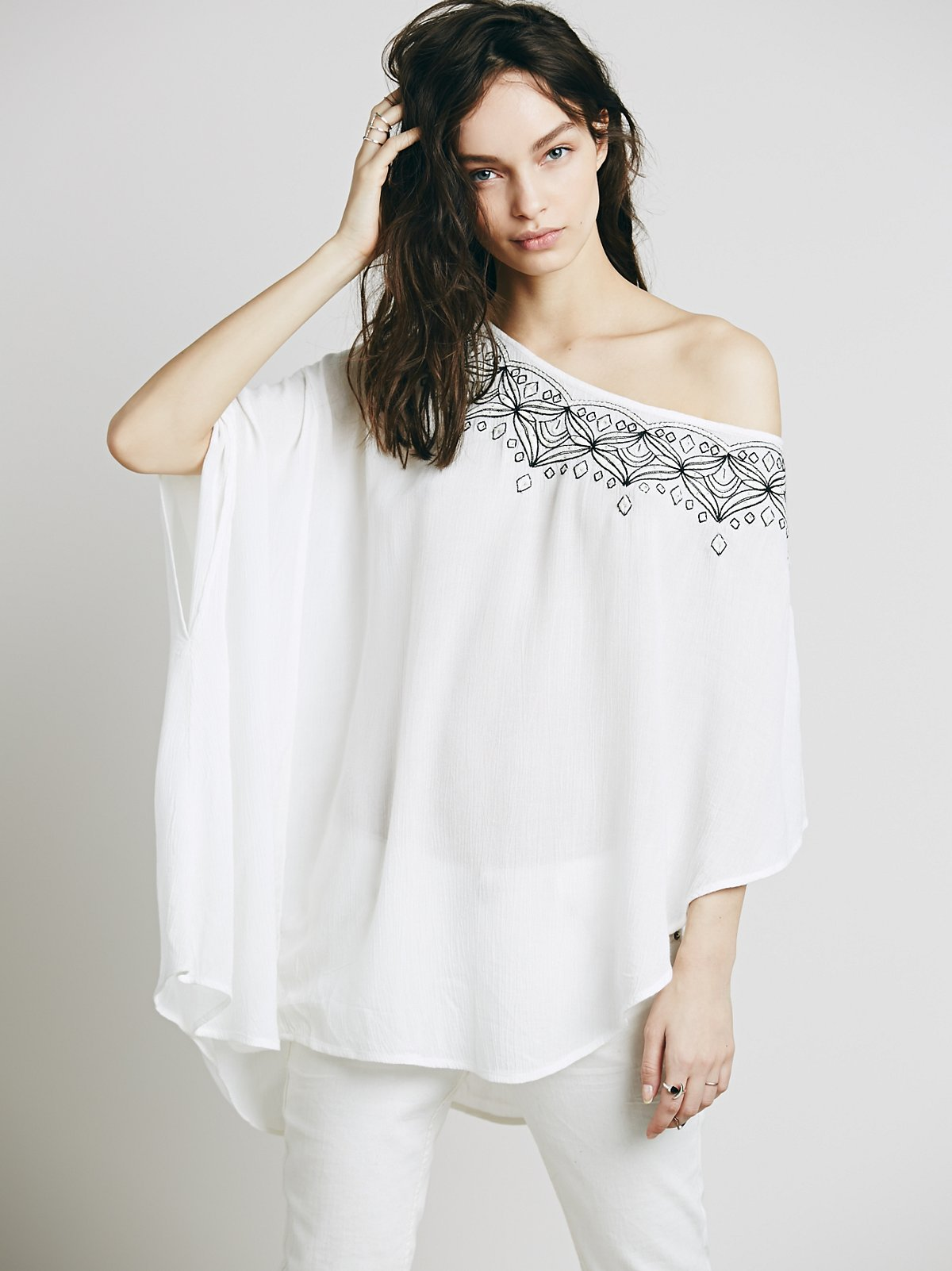 Embroidered One Shoulder Tunic