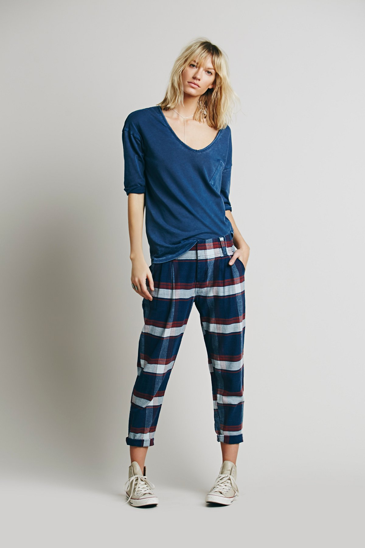 Plaid Relaxed Washed Pant