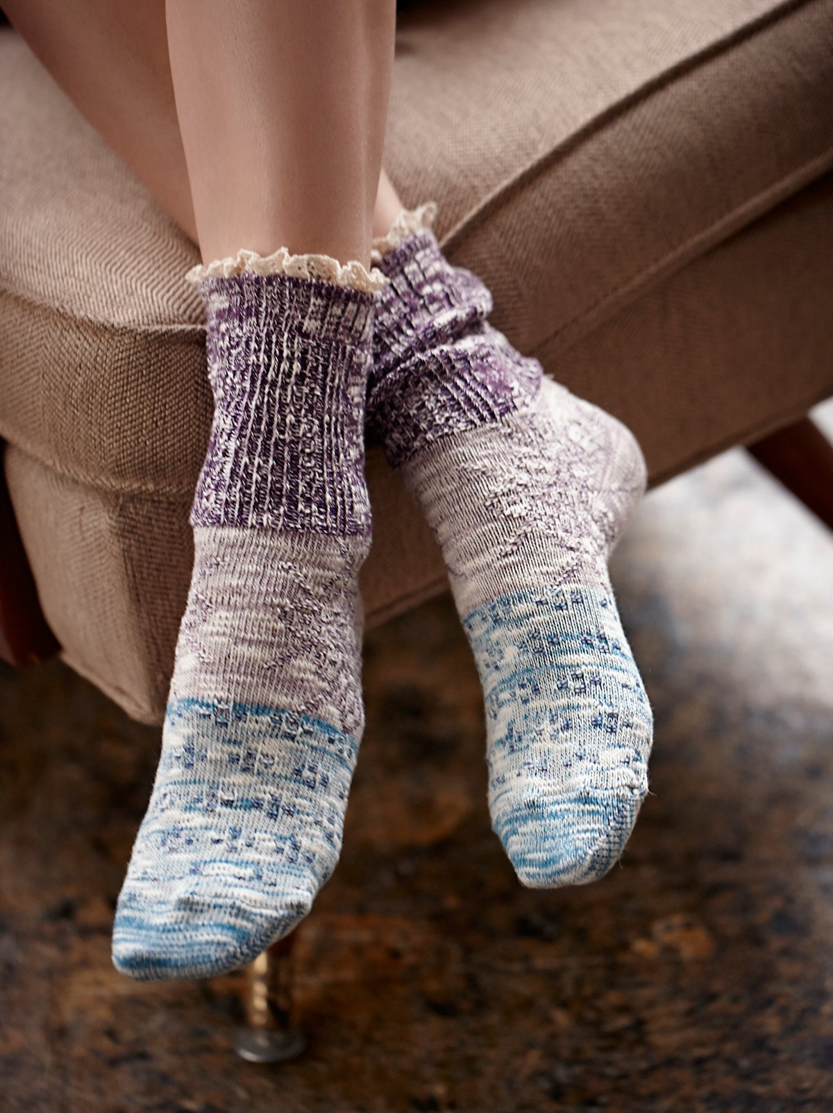 Road Trip Heathered Ruffle Sock