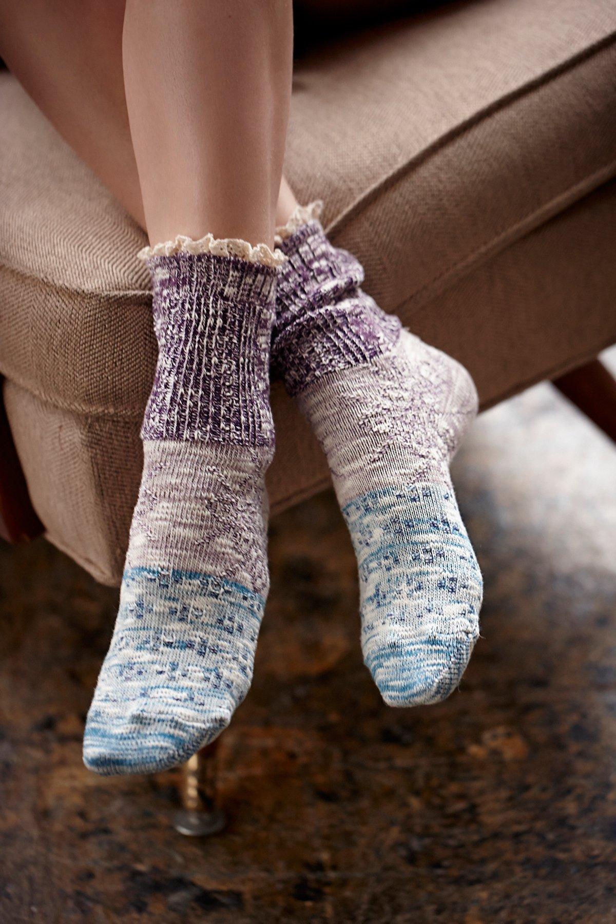 Road Trip Heathered Ruffle Sock