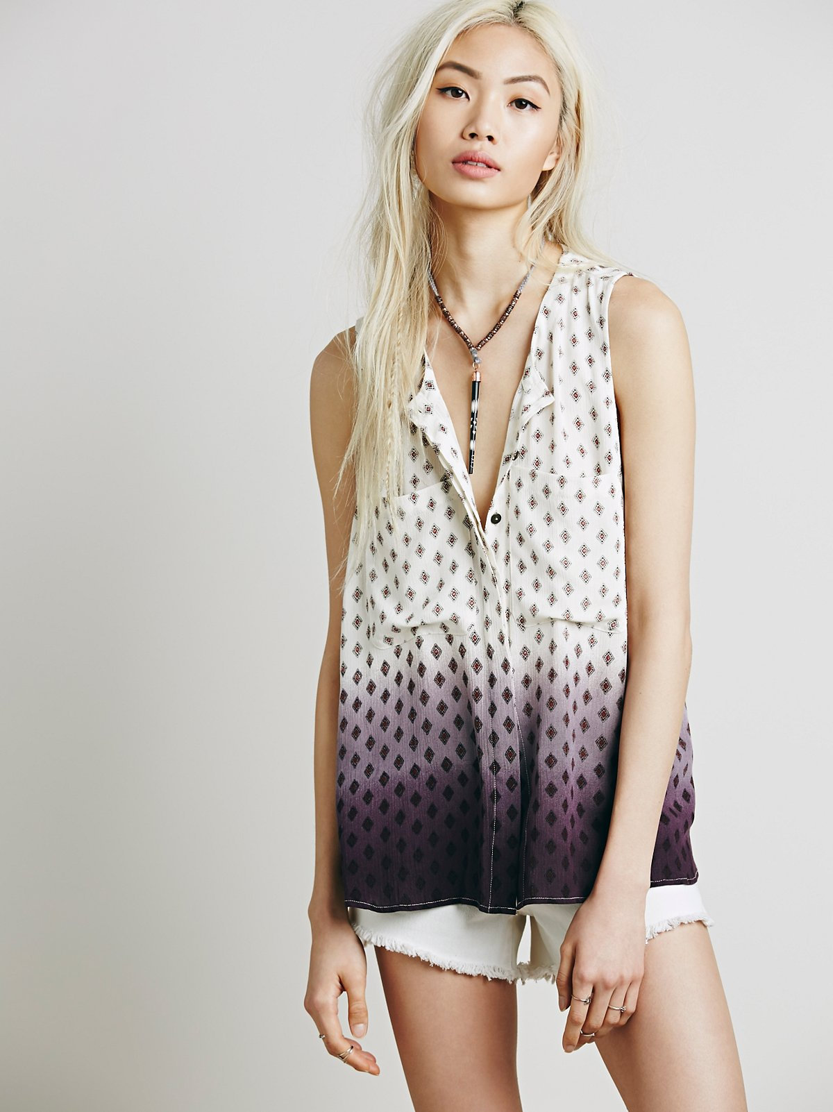 Sleeveless Dip Dye Print Henley