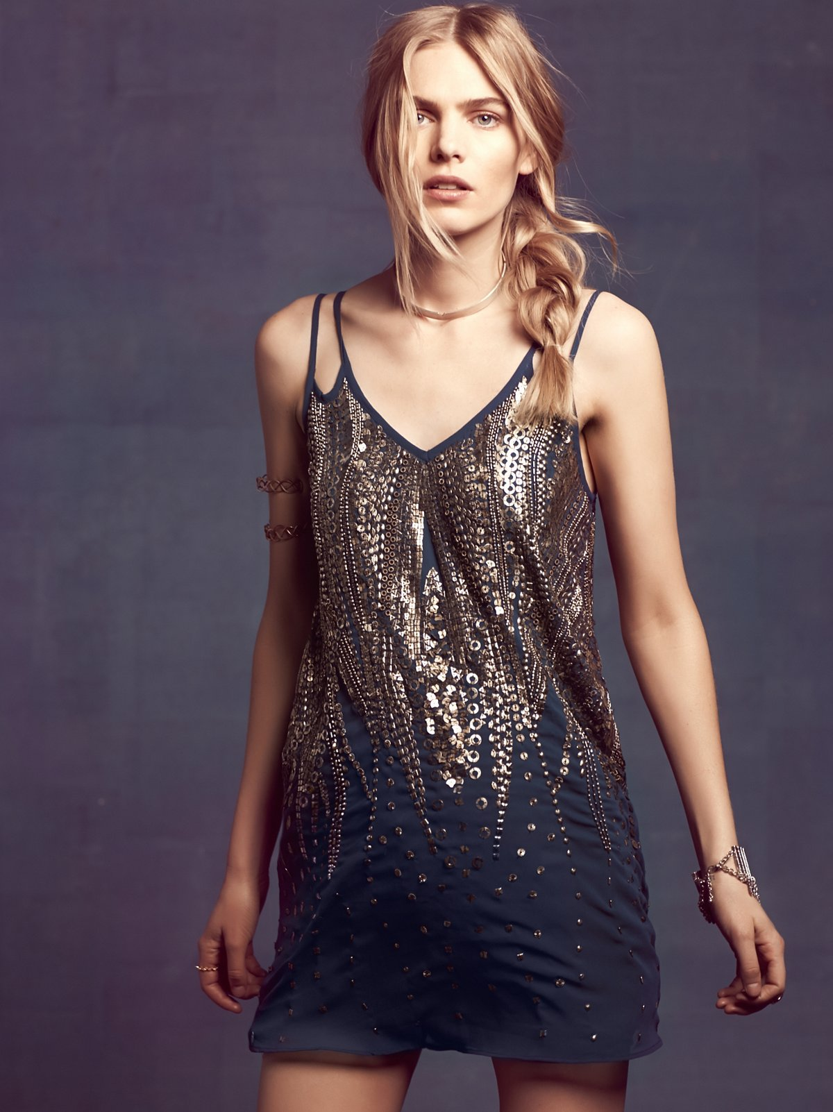 Embellished V Shift Dress