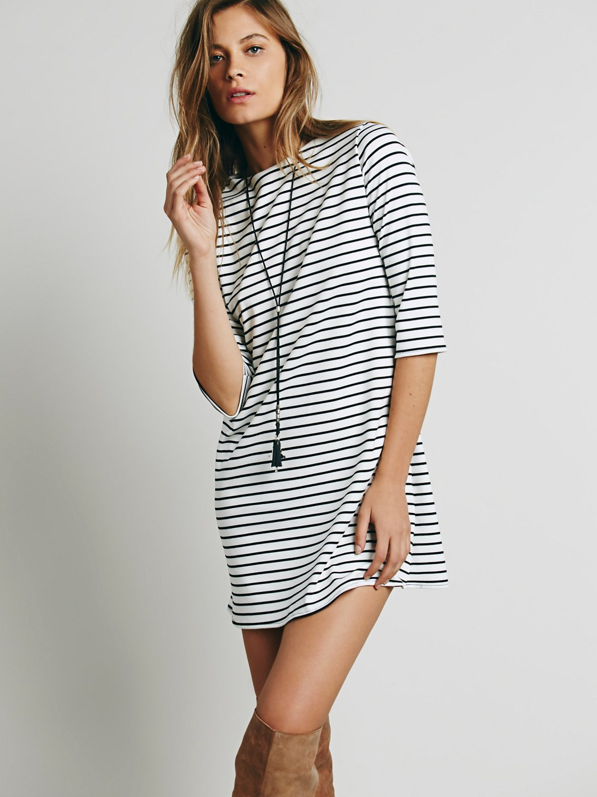 Striped Knit Boatneck Dress