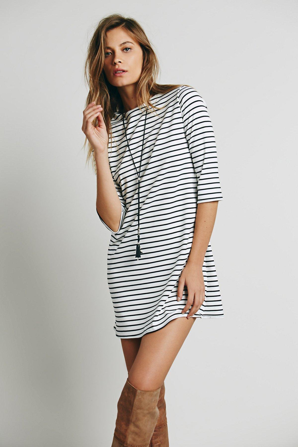 Striped Knit Boatneck Dress