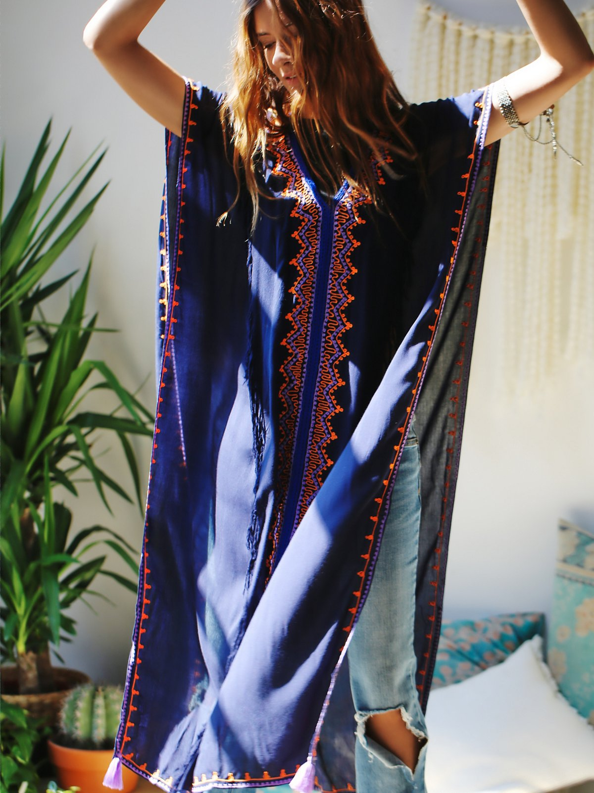 Embroidered Maxi Poncho