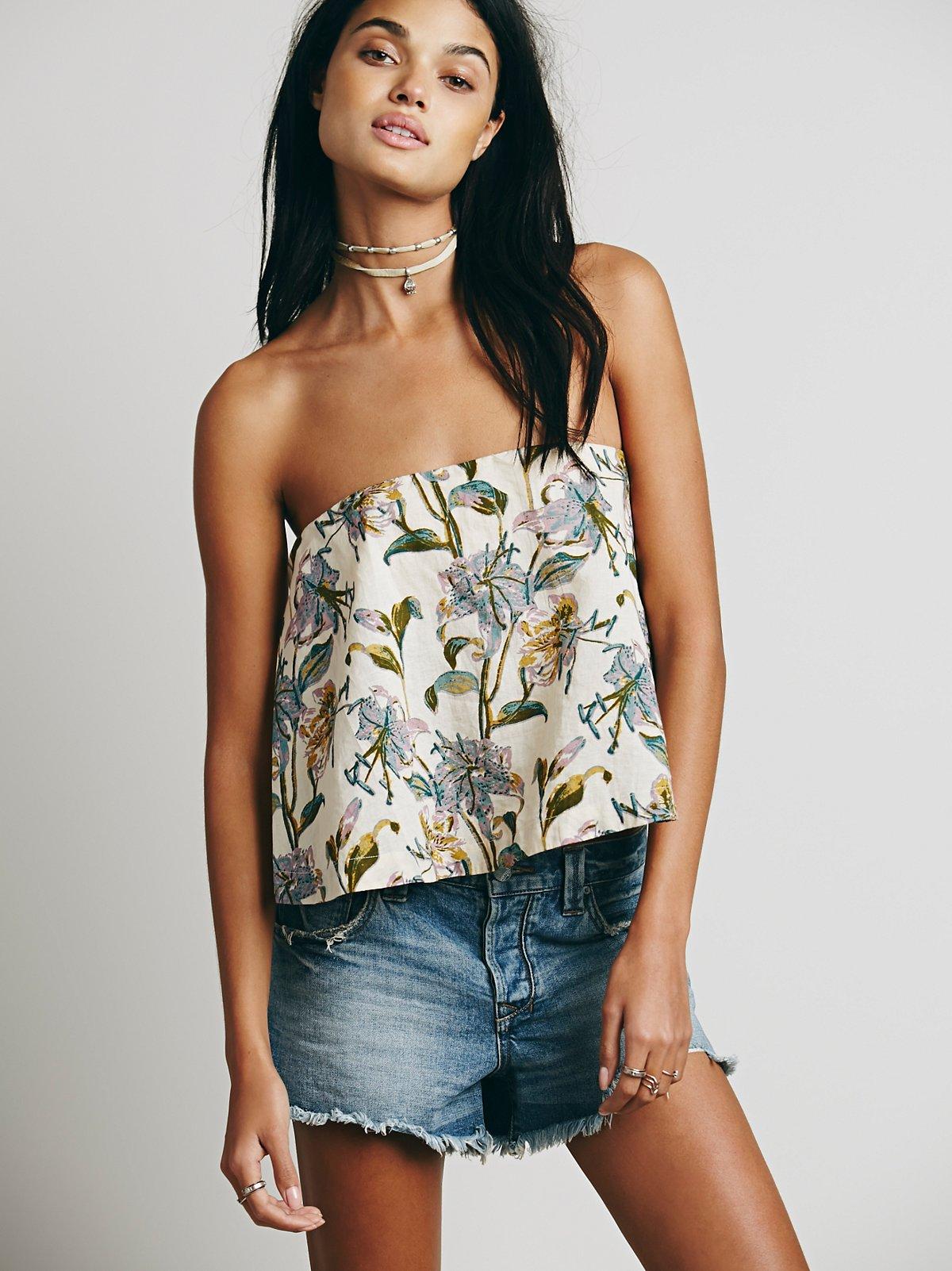 Floral Structured抹胸上衣