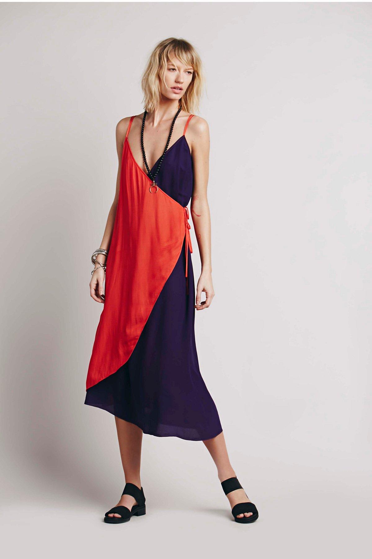 Color Block Wrap连衣裙