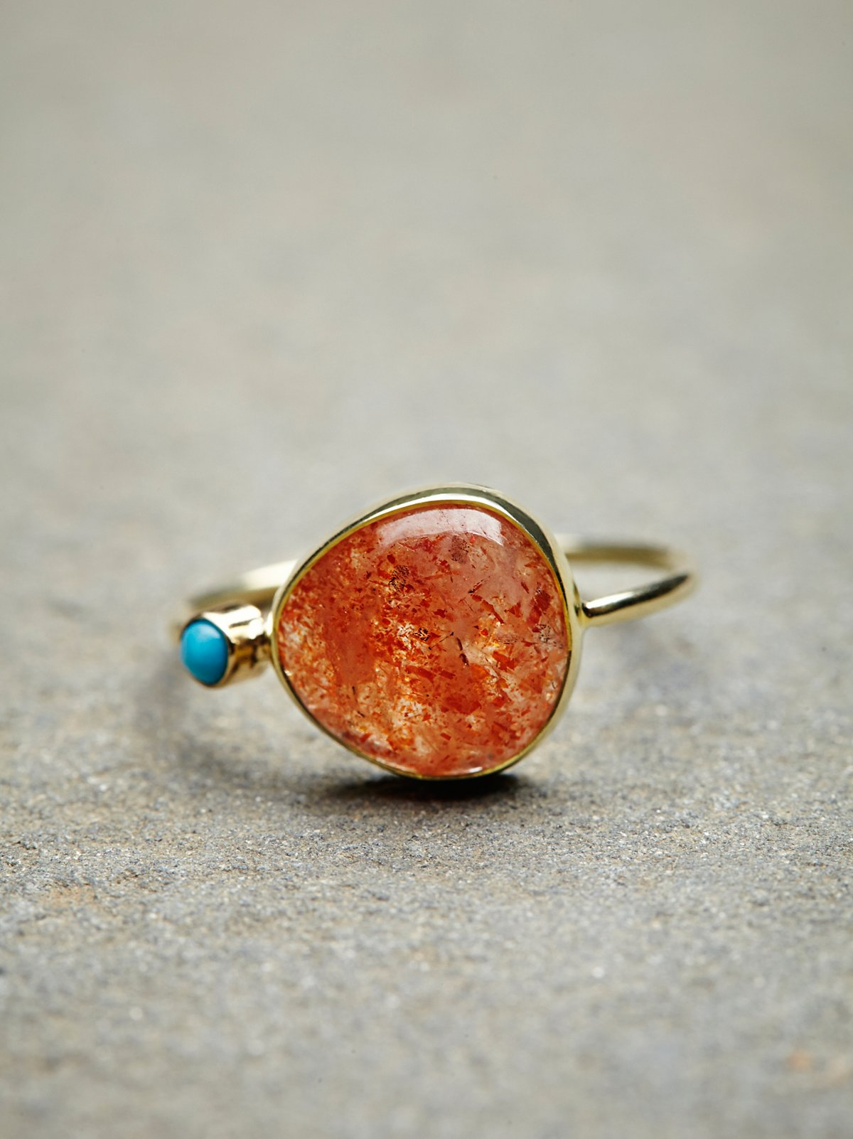 14K Sunstone Slice Ring