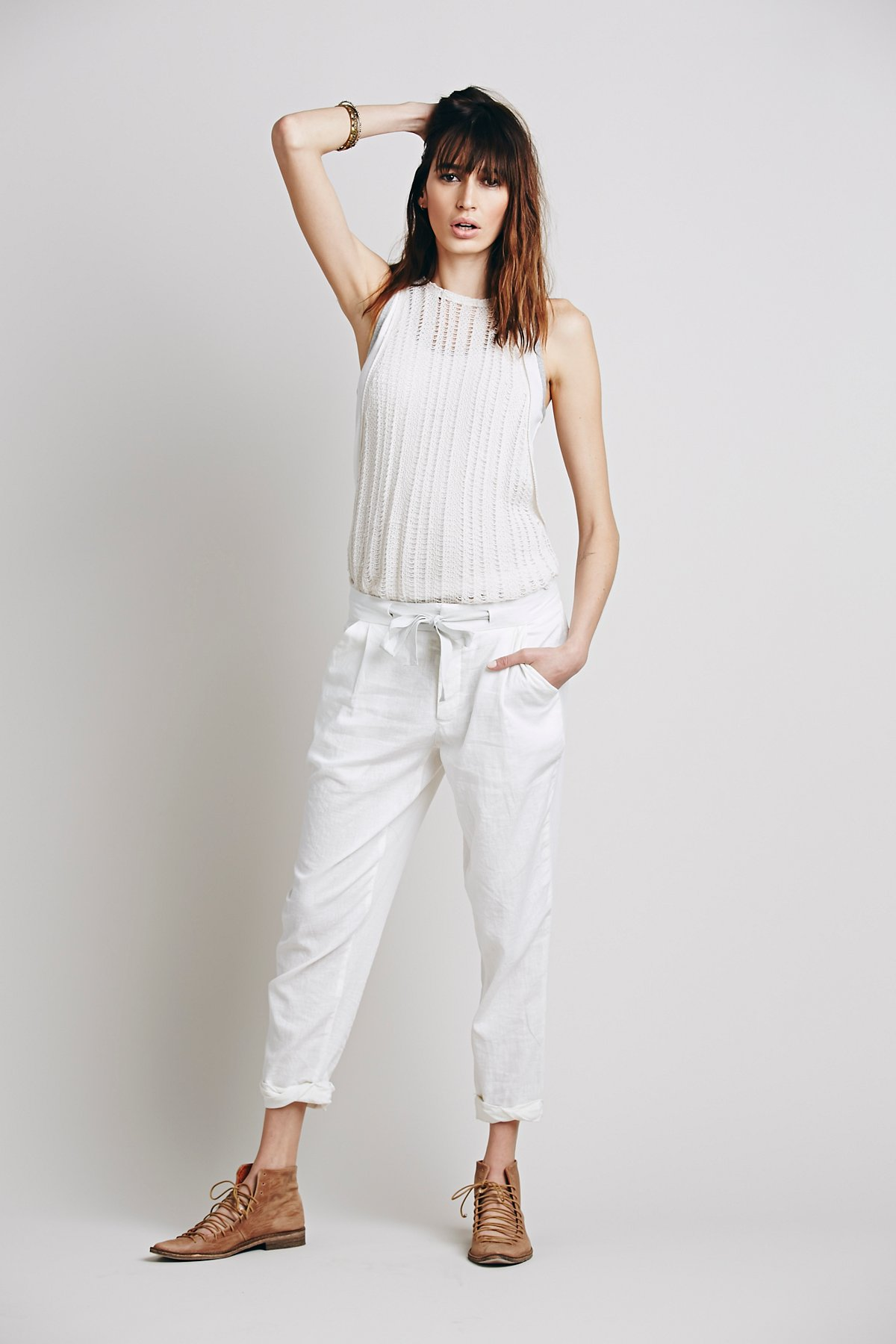 Relaxed Crop Tie Pant