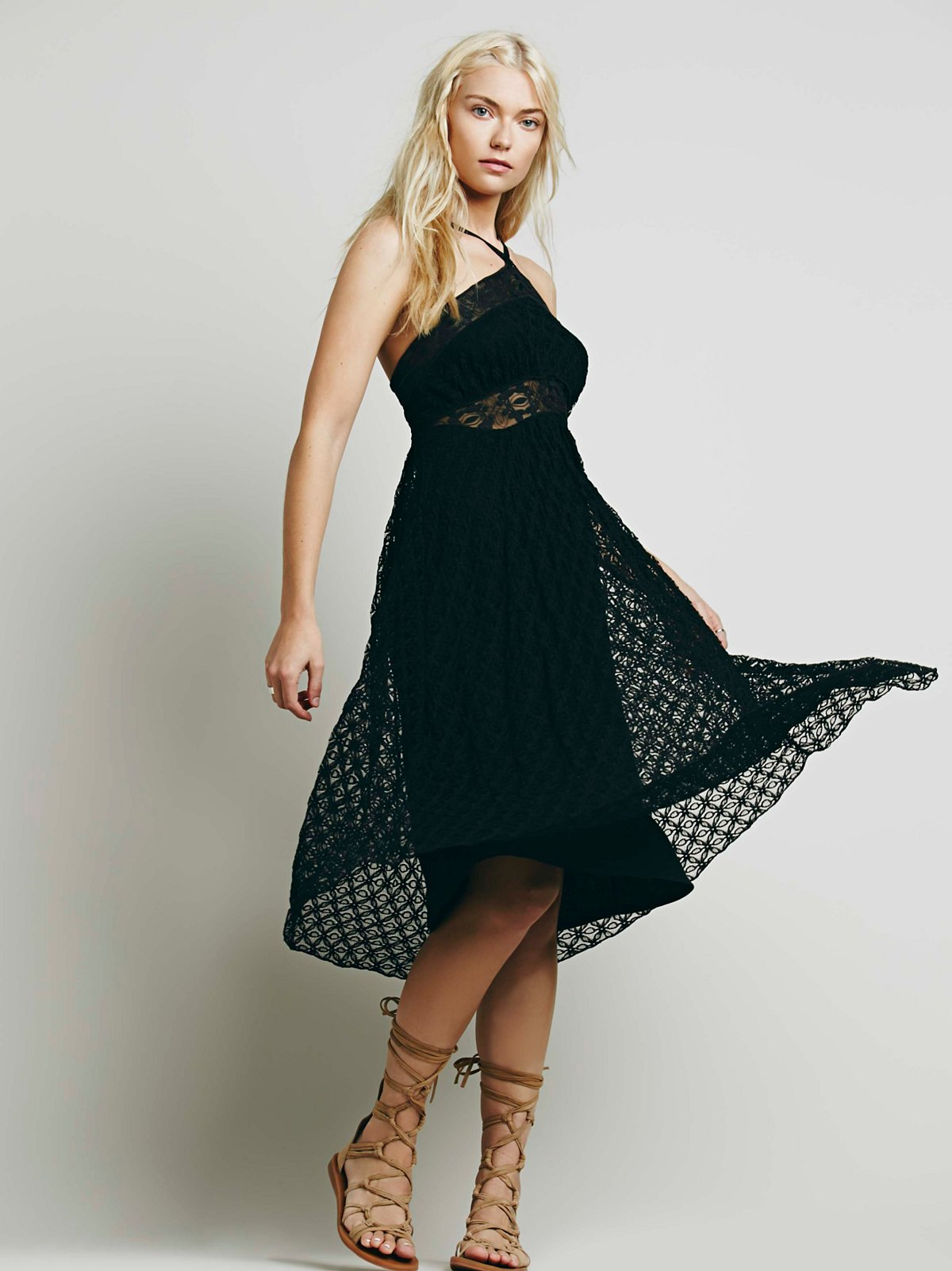 Hi Neck Babydoll Lace Dress