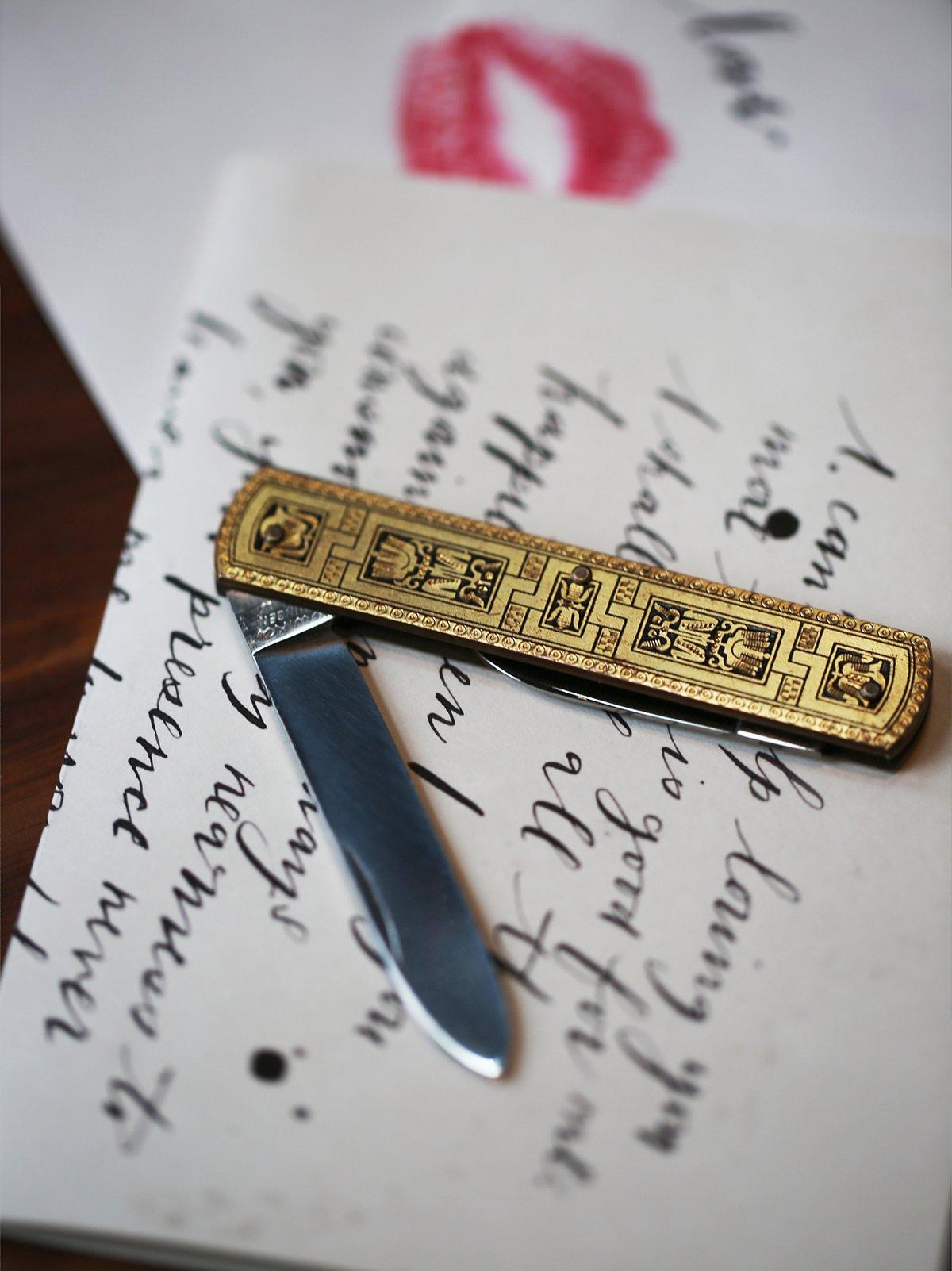 Vintage Etched Pocket Knives